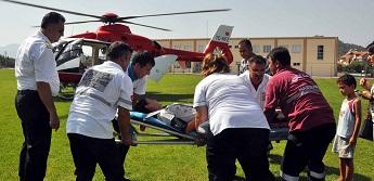 Ambulans helikopter erken doğum için uçtu