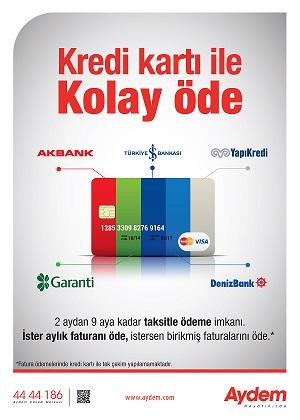 AYDEM'den Kredi Kartı ile Ödeme kolaylığı