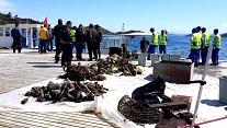 Denizden 1.5 ton atık çıktı