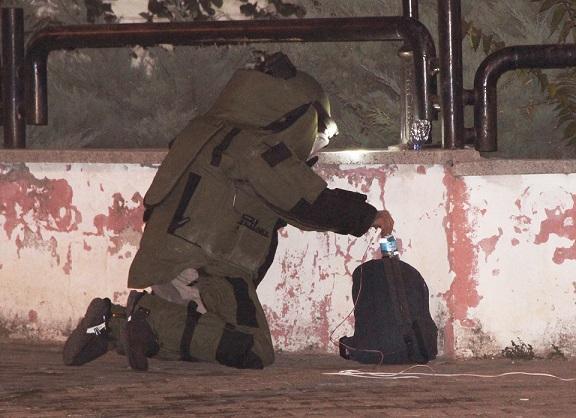 Adliye duvarındaki şüpheli çanta patlatıldı