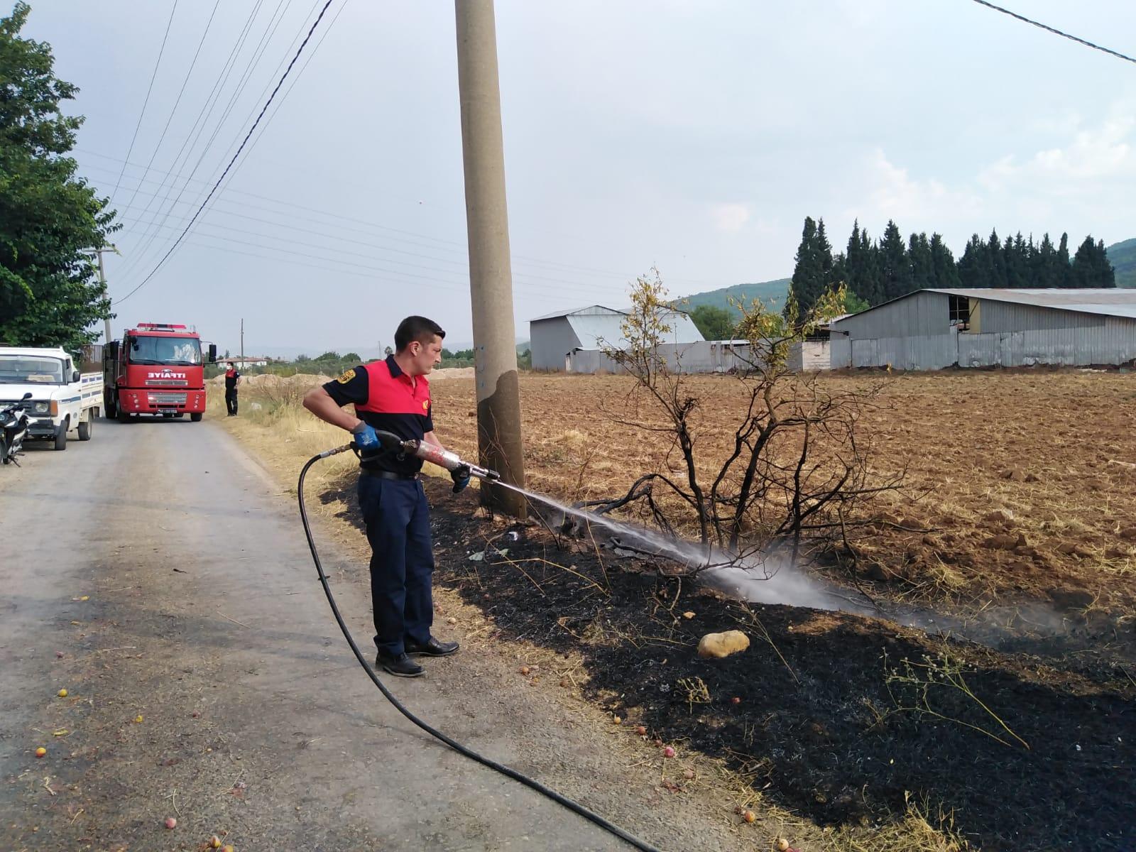 Elektrik direğine düşen yıldırım yangına sebep oldu