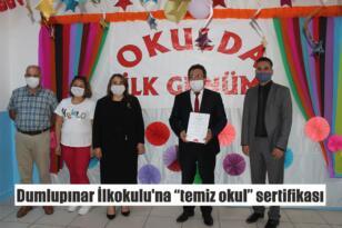 """Dumlupınar İlkokulu'na """"temiz okul"""" sertifikası"""