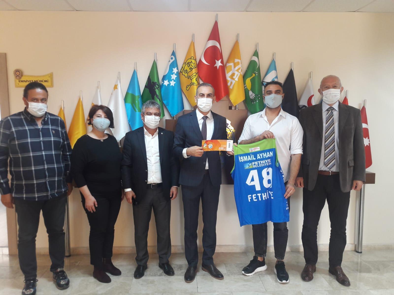 LH Fethiye Belediyespor yönetiminden İlçe Emniyet Müdürü Ayhan'a ziyaret