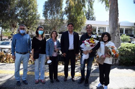 Haluk Levent ile Melek Mosso Başkan Karaca'yı ziyaret etti