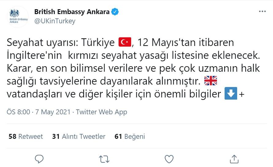 İNGİLTERE TÜRKİYE'Yİ KIRMIZI LİSTEYE ALDI