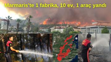 Marmaris'te 1 fabrika, 27 ev, 1 araç yandı
