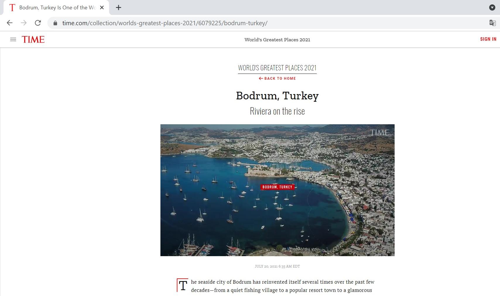 Bodrum TIME'in listesinde! 'yükselişteki riviera'