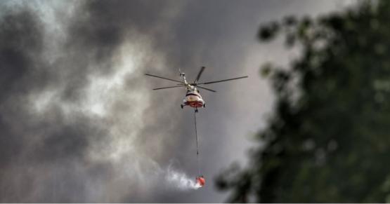 Jandarmanın helikopterlerinden yangına destek