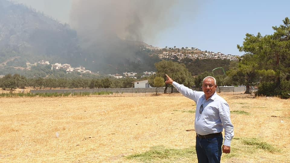 DSP Genel Başkanı Aksakal, Muğla'daki yangın bölgelerinde incelemelerde bulundu: